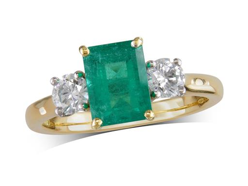 18 carat yellow gold three stone ring, with an octagonal emerald centre weighing 1.50ct, and one brilliant cut diamond on each shoulder. Total diamond weight: 0.50ct.