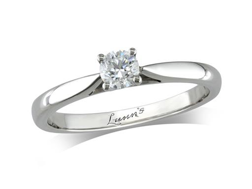 Platinum single stone diamond engagement ring, with a certificated brilliant cut, in a four claw setting.