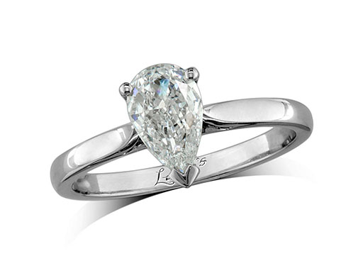 Platinum single stone diamond engagement ring, with a certificated pear cut, in a claw setting.