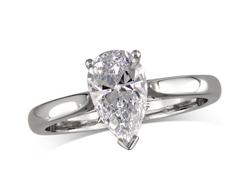 Platinum single stone diamond engagement ring, with a certificated pear cut, in a two claw and V setting.