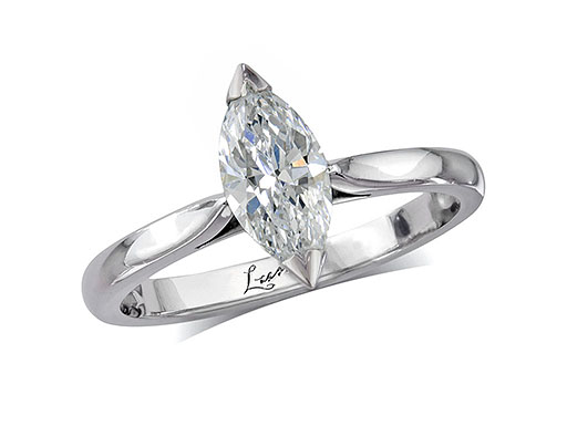 Platinum set single stone diamond engagement ring, with a certificated marquise cut.
