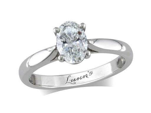 Platinum single stone diamond engagement ring, with a certificated oval cut, in a four claw setting.