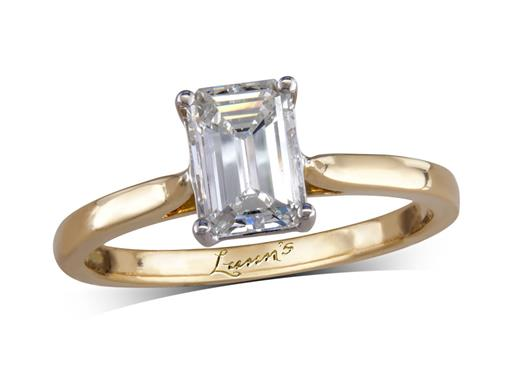 18 carat yellow gold single stone diamond engagement ring, with a certificated emerald cut, in a four claw setting.