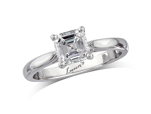 Platinum single stone diamond engagement ring, with a certificated asscher cut, in a four claw setting.