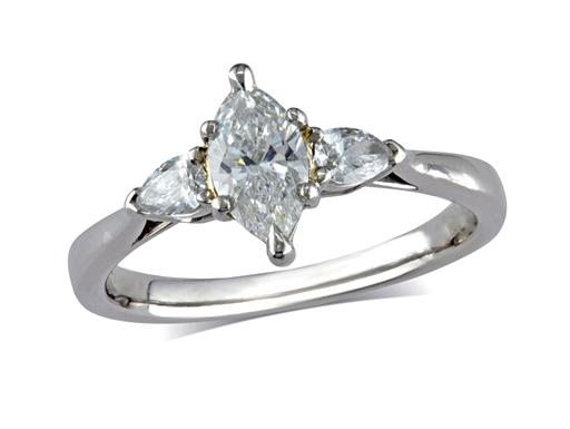 Pre-owned platinum set single stone diamond engagement ring, with a certificated marquise cut centre in a six claw setting, and one pear cut on each shoulder. Total diamond weight: 0.67ct.