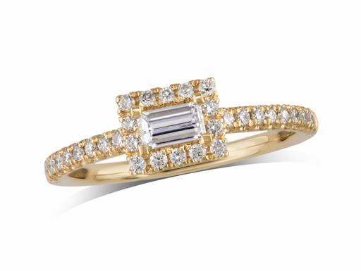 18 carat yellow gold set diamond cluster engagement ring, with a certificated emerald cut centre in a four claw setting, with a surrounding diamond set bezel and diamond set shoulders. Total cluster diamond weight: 0.52ct.