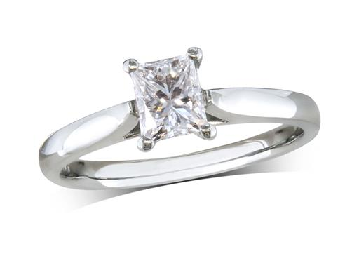 Pre-owned platinum single stone diamond engagement ring, with a certificated princess cut, in a four claw setting.