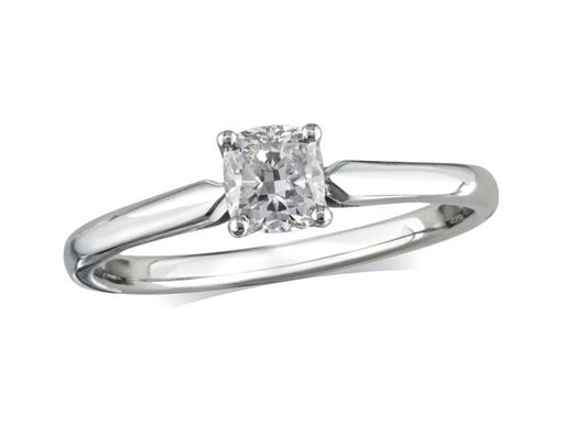 Pre-owned platinum set single stone diamond engagement ring, with a certificated cushion cut, in a four claw setting.