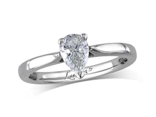 Pre-owned platinum set single stone diamond engagement ring, with a certificated pear cut, in a three claw setting.