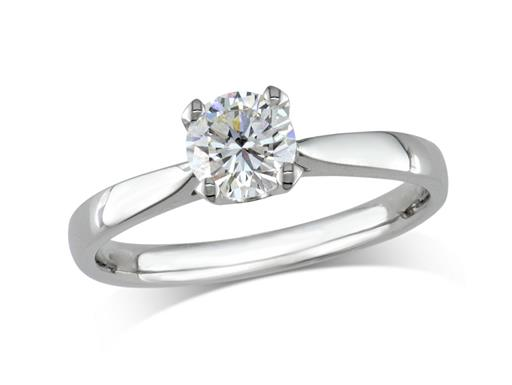 Pre-owned platinum set single stone diamond engagement ring, with a certificated brilliant cut, in a four claw setting.