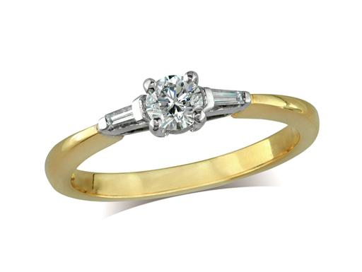 Pre-owned 18ct yellow gold set single stone diamond engagement ring, with a certificated brilliant cut centre in a four claw setting, and one taper baguette cut on each shoulder. Total diamond weight: 0.32ct.