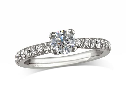Pre-owned platinum set single stone diamond engagement ring, with a certificated brilliant cut centre in a four claw setting, and diamond set shoulders. Total diamond weight: 0.62ct.