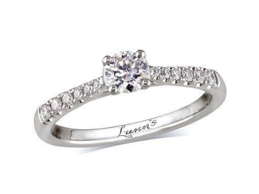 Platinum single stone diamond engagement ring, with a certificated brilliant cut centre in a four claw setting, and diamond set shoulders. Perfect fit with a wedding ring. Total diamond weight: 0.42ct.
