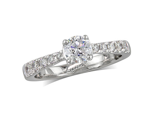 Platinum single stone diamond engagement ring, with a certificated brilliant cut centre in a four claw setting, and diamond set shoulders. Perfect fit with a wedding ring. Total diamond weight: 0.77ct.