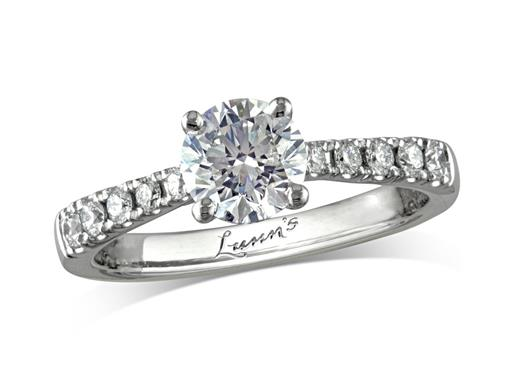Platinum single stone diamond engagement ring, with a certificated brilliant cut centre in a four claw setting, and diamond set shoulders. Perfect fit with a wedding ring. Total diamond weight: 1.16ct.