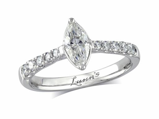 Platinum set single stone diamond engagement ring, with a certificated marquise cut centre in a four claw setting, and diamond set shoulders. Perfect fit with a wedding ring. Total diamond weight: 0.52ct.