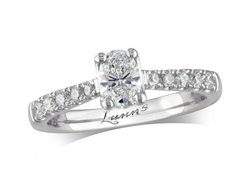 Platinum single stone diamond engagement ring, with a certificated oval cut centre in a four claw setting, and diamond set shoulders. Perfect fit with a wedding ring. Total diamond weight: 0.51ct.