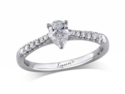 Platinum single stone diamond engagement ring, with a certificated pear cut centre in a three claw setting, and diamond set shoulders. Perfect fit with a wedding ring. Total diamond weight: 0.44ct.