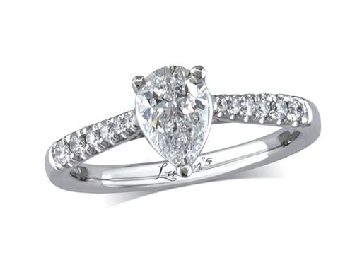 Platinum single stone diamond engagement ring, with a certificated pear cut centre in a three claw setting, and diamond set shoulders. Perfect fit with a wedding ring. Total diamond weight: 0.86ct.