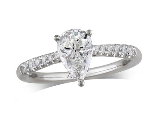 Platinum single stone diamond engagement ring, with a certificated pear cut centre in a three claw setting, and diamond set shoulders. Perfect fit with a wedding ring. Total diamond weight: 1.16ct.