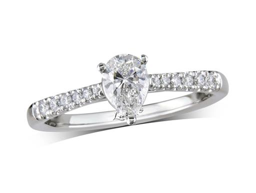 Platinum set single stone diamond engagement ring, with a certificated pear cut centre in a three claw setting, and diamond set shoulders. Perfect fit with a wedding ring. Total diamond weight: 0.60ct.
