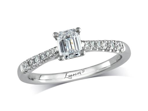 Platinum set single stone diamond engagement ring, with a certificated emerald cut centre in a four claw setting, and diamond set shoulders. Perfect fit with a wedding ring. Total diamond weight: 0.68ct.