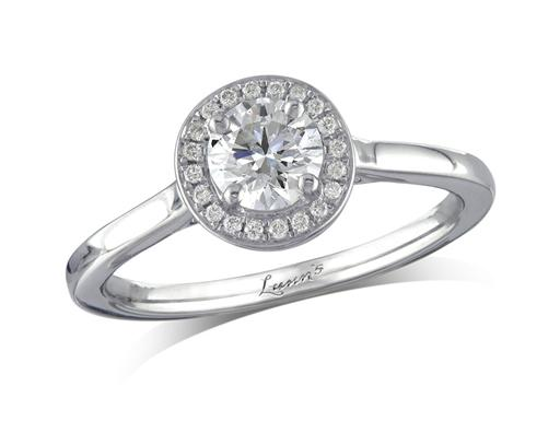 Platinum set diamond cluster engagement ring, with a certificated brilliant cut centre in a four claw setting, with a surrounding diamond set bezel. Perfect fit with a wedding ring. Total cluster diamond weight: 0.56ct.