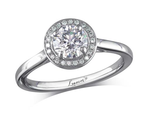 Platinum diamond engagement ring, with a certificated brilliant cut centre in a four claw setting, with a surrounding diamond set bezel. Perfect fit with a wedding ring. Total cluster diamond weight: 0.77ct.