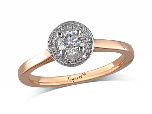 18 carat rose gold set diamond cluster engagement ring, with a certificated brilliant cut centre in a four claw setting, with a surrounding diamond set bezel. Perfect fit with a wedding ring. Total cluster diamond weight: 0.37ct.