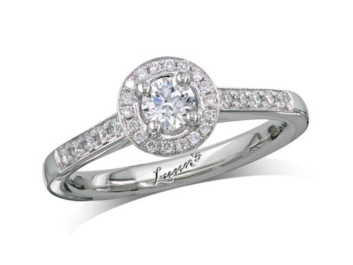 Platinum cluster diamond engagement ring, with a certificated brilliant cut centre in a four claw setting, with a surrounding diamond set bezel and diamond set shoulders. Perfect fit with a wedding ring. Total cluster diamond weight: 0.40ct.