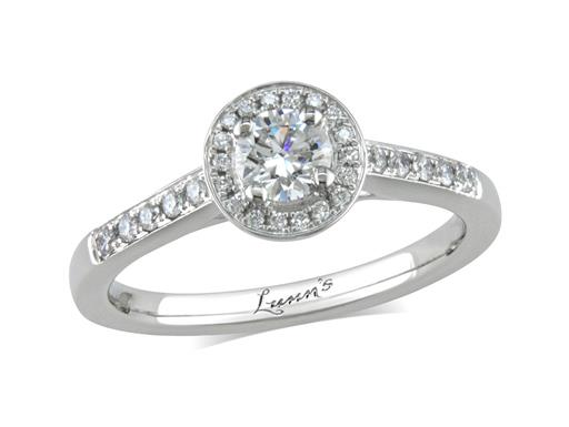 Platinum set diamond cluster engagement ring, with a certificated brilliant cut centre in a four claw setting, with a surrounding diamond set bezel and diamond set shoulders. Perfect fit with a wedding ring. Total cluster diamond weight: 0.46ct.