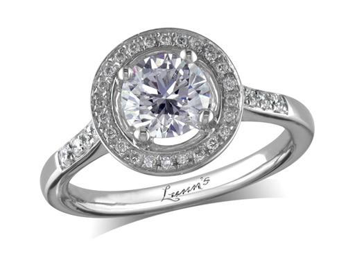 Platinum set diamond ring, with a certificated brilliant cut centre in a four claw setting, surrounded by a diamond set cluster and shoulders. Perfect fit with a wedding ring. Total diamond weight:  1.50ct