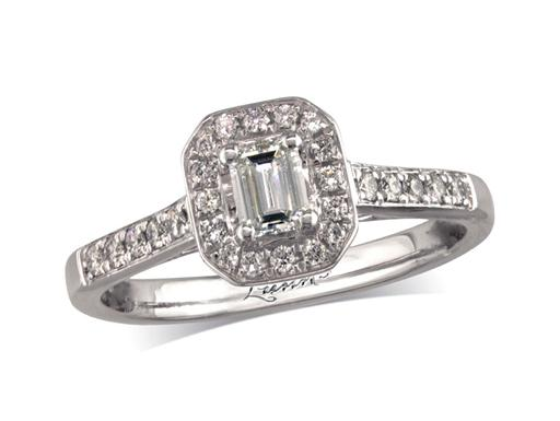 Pre-owned platinum set diamond cluster engagement ring, with a certificated emerald cut centre in a four claw setting, with a surrounding diamond set bezel and diamond set shoulders. Total cluster diamond weight: 0.47ct.