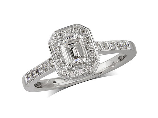 Platinum set diamond cluster engagement ring, with a certificated emerald cut centre in a four claw setting, with a surrounding diamond set bezel and diamond set shoulders. Perfect fit with a wedding ring. Total cluster diamond weight: 0.52ct.