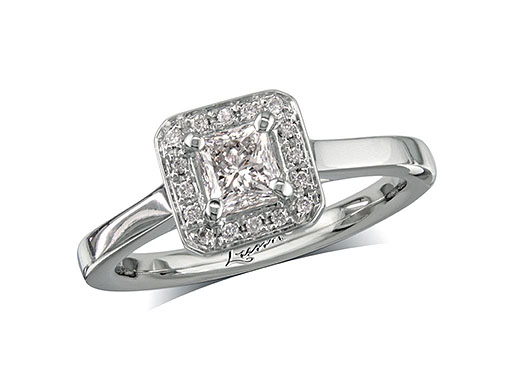 Platinum set diamond cluster engagement ring, with a certificated princess cut centre in a four claw setting, with a surrounding diamond set bezel. Perfect fit with a wedding ring. Total cluster diamond weight: 0.64.