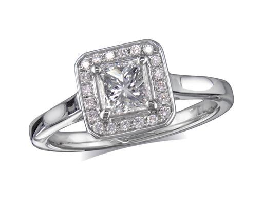 Platinum diamond engagement ring, with a certificated princess cut centre in a four claw setting, with a surrounding diamond set bezel. Perfect fit with a wedding ring. Total cluster diamond weight: 0.82ct.