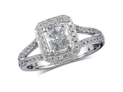 Platinum set diamond engagement ring, with a certificated radiant cut in a four claw setting, surrounded by a diamond set cluster and split shoulders. Perfect fit with a wedding ring. Total diamond weight: 1.13ct.