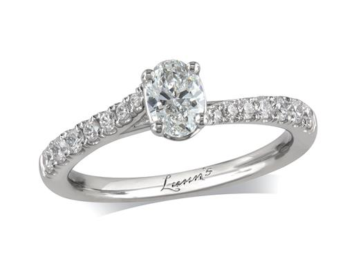 Platinum single stone diamond engagement ring, with a certificated oval cut centre in a four claw setting, and diamond set shoulders. Perfect fit with a wedding ring. Total diamond weight: 0.67ct.