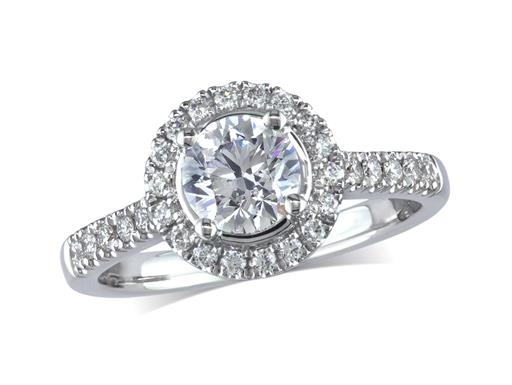 Platinum set diamond cluster engagement ring, with a certificated brilliant cut centre in a four claw setting, with a surrounding diamond set bezel and diamond set shoulders. Perfect fit with a wedding ring. Total cluster diamond weight: 0.98ct.