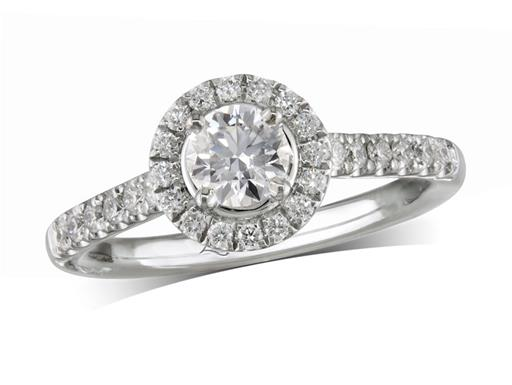 Platinum cluster diamond engagement ring, with a certificated brilliant cut centre in a four claw setting, with a surrounding diamond set bezel and diamond set shoulders. Perfect fit with a wedding ring. Total cluster diamond weight: 0.71ct.