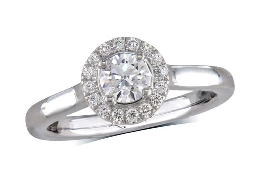 Platinum cluster diamond engagement ring, with a certificated brilliant cut centre in a four claw setting, with a surrounding diamond set bezel. Perfect fit with a wedding ring. Total cluster diamond weight: 0.53ct.