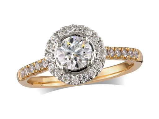 18 carat yellow gold cluster diamond engagement ring, with a certificated brilliant cut centre in a four claw setting, with a surrounding diamond set bezel and diamond set shoulders. Perfect fit with a wedding ring. Total cluster diamond weight: 0.78ct.