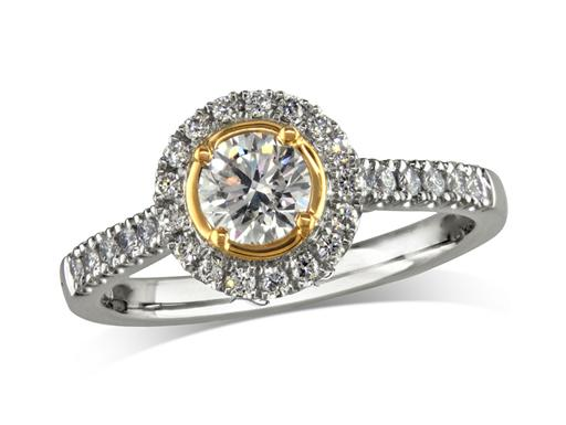 Platinum set diamond cluster engagement ring, with a certificated brilliant cut centre in a four claw setting, with a surrounding diamond set bezel and diamond set shoulders. Perfect fit with a wedding ring. Total cluster diamond weight: 0.71ct.