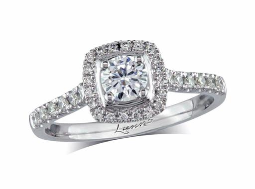 Platinum cluster diamond engagement ring, with a certificated brilliant cut centre in a four claw setting, with a surrounding diamond set bezel and diamond set shoulders. Perfect fit with a wedding ring. Total cluster diamond weight: 0.57ct.