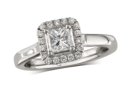Platinum cluster diamond engagement ring, with a certificated princess cut centre in a four claw setting, with a surrounding diamond set bezel. Perfect fit with a wedding ring. Total cluster diamond weight: 0.57ct.