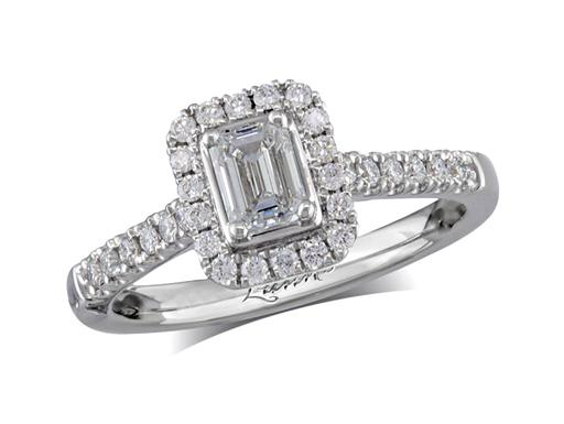 Platinum set diamond cluster engagement ring, with a certificated emerald cut centre in a four claw setting, with a surrounding diamond set bezel and diamond set shoulders. Perfect fit with a wedding ring. Total cluster diamond weight: 0.67ct.