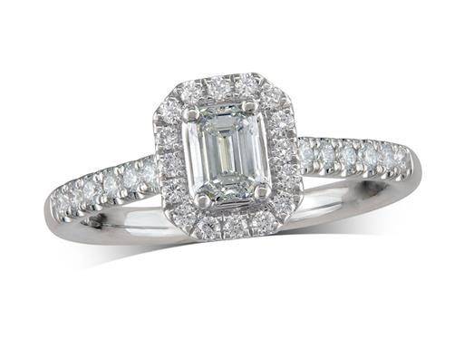 Platinum cluster diamond engagement ring, with a certificated emerald cut centre in a four claw setting, with a surrounding diamond set bezel and diamond set shoulders. Perfect fit with a wedding ring. Total cluster diamond weight: 0.74ct.