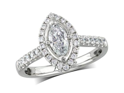 Platinum cluster diamond engagement ring, with a certificated marquise cut centre in a four claw setting, with a surrounding diamond set bezel and diamond set shoulders. Perfect fit with a wedding ring. Total cluster diamond weight: 0.85ct.
