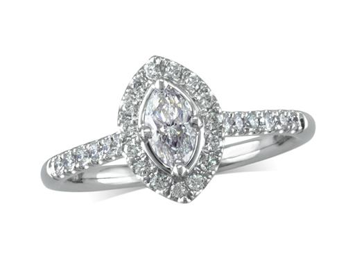 Platinum cluster diamond engagement ring, with a certificated marquise cut centre in a four claw setting, with a surrounding diamond set bezel and diamond set shoulders. Perfect fit with a wedding ring. Total cluster diamond weight: 0.58ct.