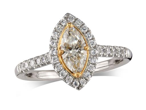 Platinum set diamond cluster engagement ring, with a certificated marquise cut centre in a four claw yellow gold setting, with a surrounding diamond set bezel and diamond set shoulders. Perfect fit with a wedding ring. Total cluster diamond weight: 0.81ct.